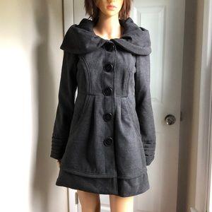 Jolt Gray long lined Coat w/Caplet&Pockets sz M